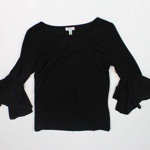 Susina black flounce bell sleeve knit top